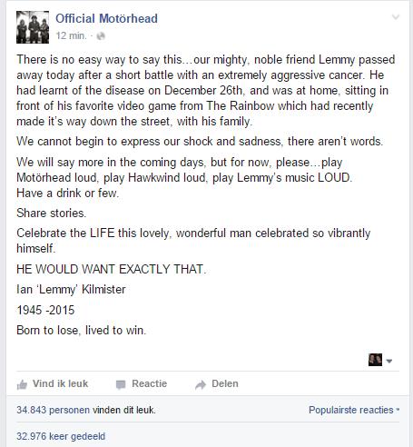 Facebook : Motorhead (29-12-2015)